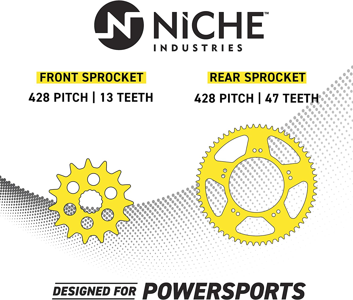 NICHE Drive Sprocket Chain Combo for Suzuki RM85L Front 13 Rear 47 Tooth 428HZ Standard 122 Links