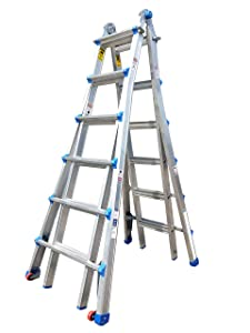 TOPRUNG Model-26 ft. Aluminum Extension Multi-Purpose Ladder with Wheels 300 lb. Load Capacity Type 1A Duty Rating