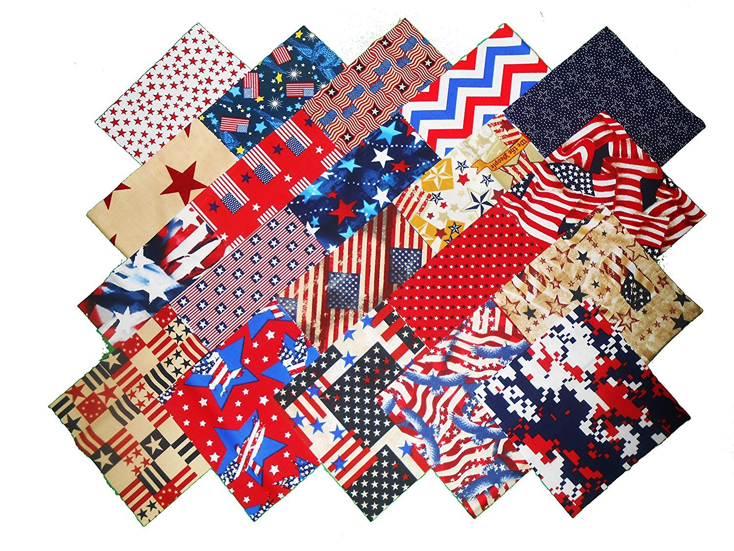 80 5'' Patriotic #1 Quilting Squares/20 Different Prints- 4 of Each/ by Material Maven