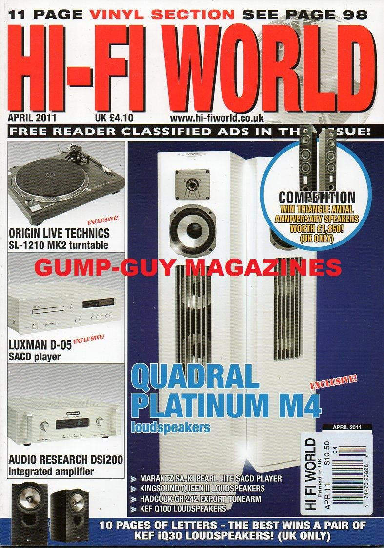 Hi-Fi World UK April 2011 QUADRAL PLATINUM M4 & KEF Q100