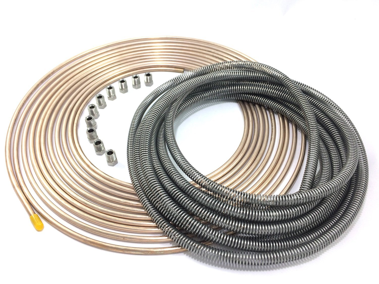 25 Ft 4.75 mm Copper Nickel Tubing with Stainless Armor and Stainless Fittings of 3//16