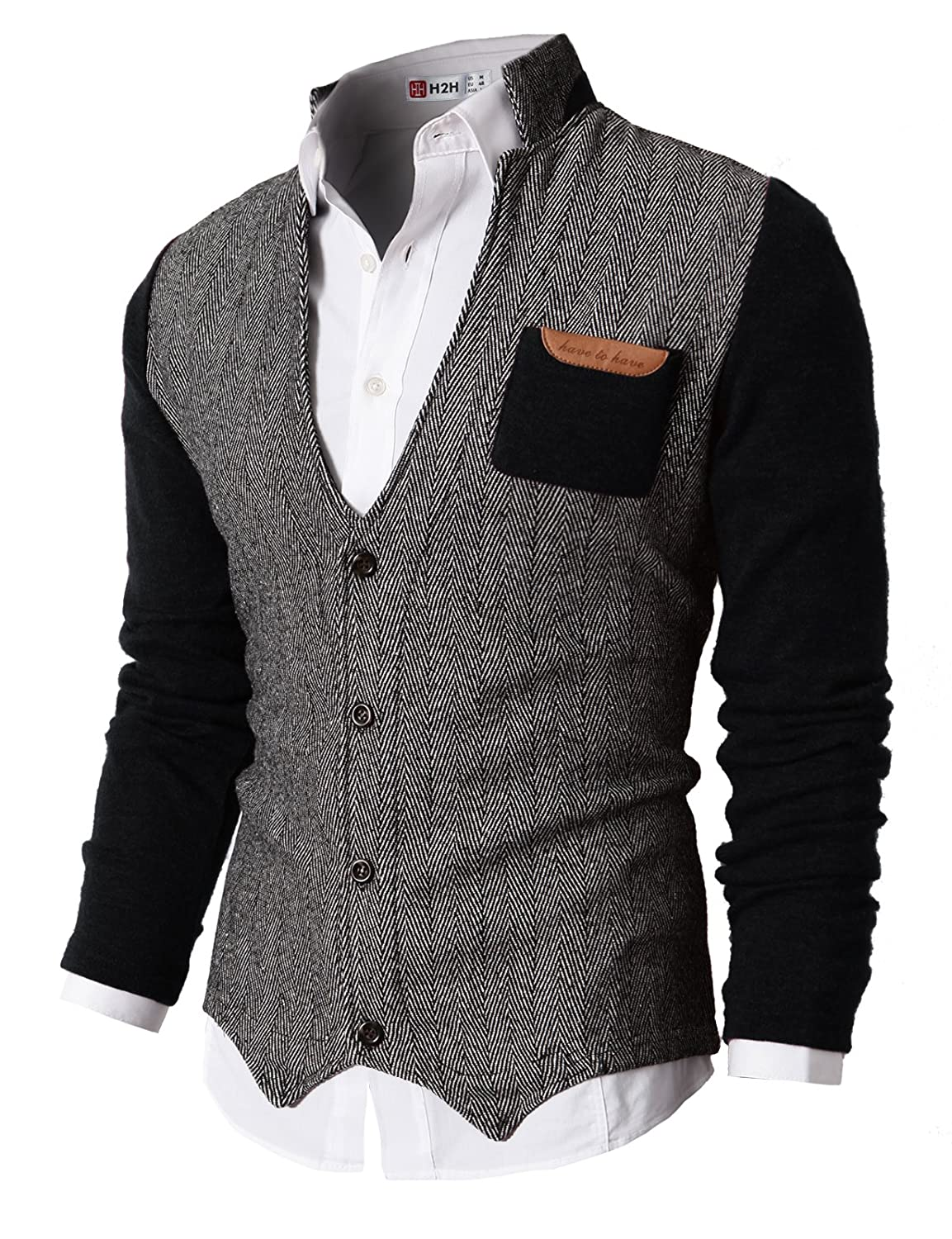 TheLees (GD132) Mens Slim Fit Collar Point Button Cardigan Black ...