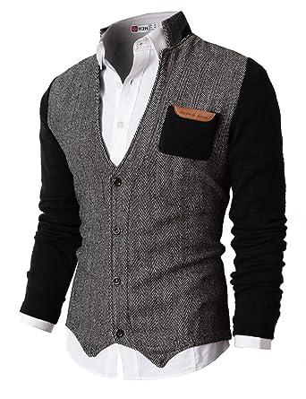 H2H Mens Casual Slim Fit Knitted Cardigan Herringbone Patterned ...