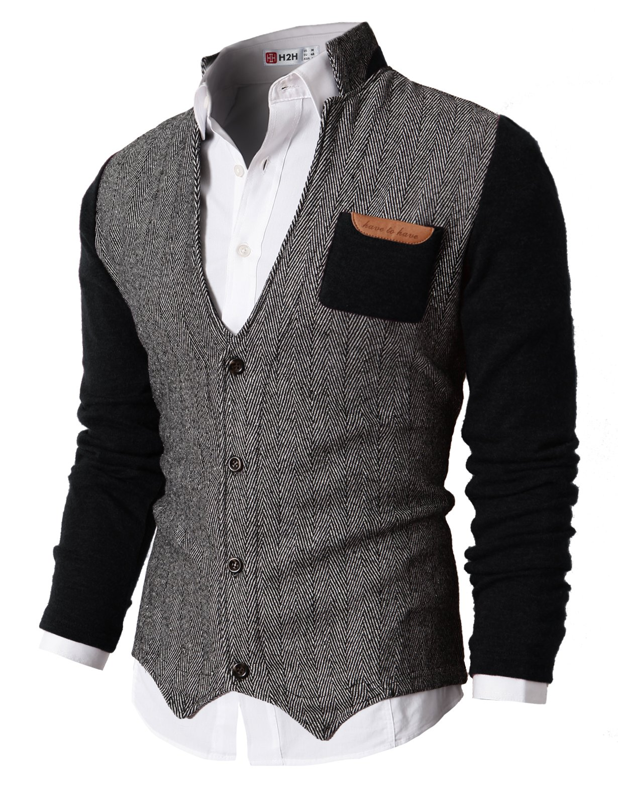 H2H Men's Autumn Winter Knit Thick Cardigan Sweater Knitwear With Hood Black US 2XL/Asia 3XL (KMOSWL015)