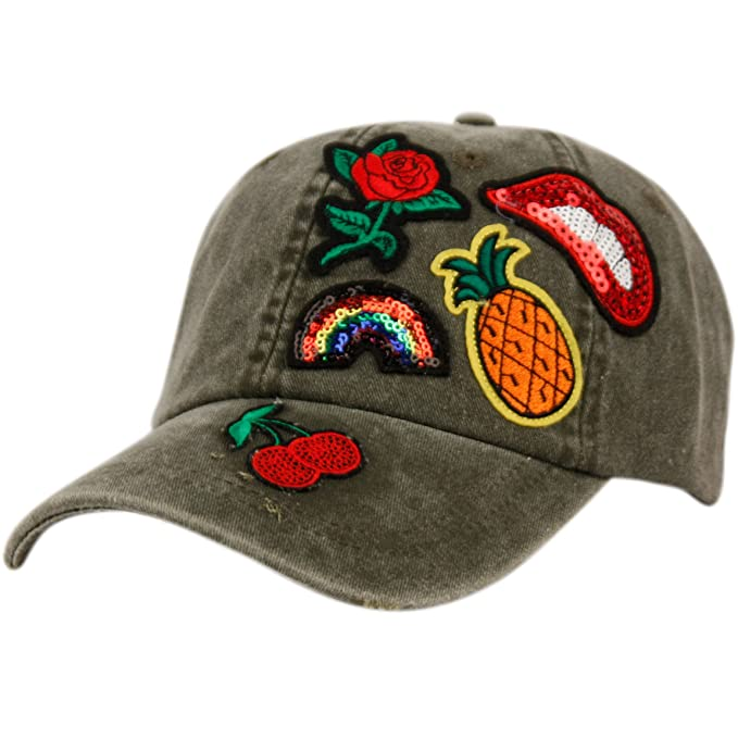Women s Multi 5 Patch Stone Washed Baseball Cap (A OLIVE) at Amazon ... 9dbdb3aa5f1