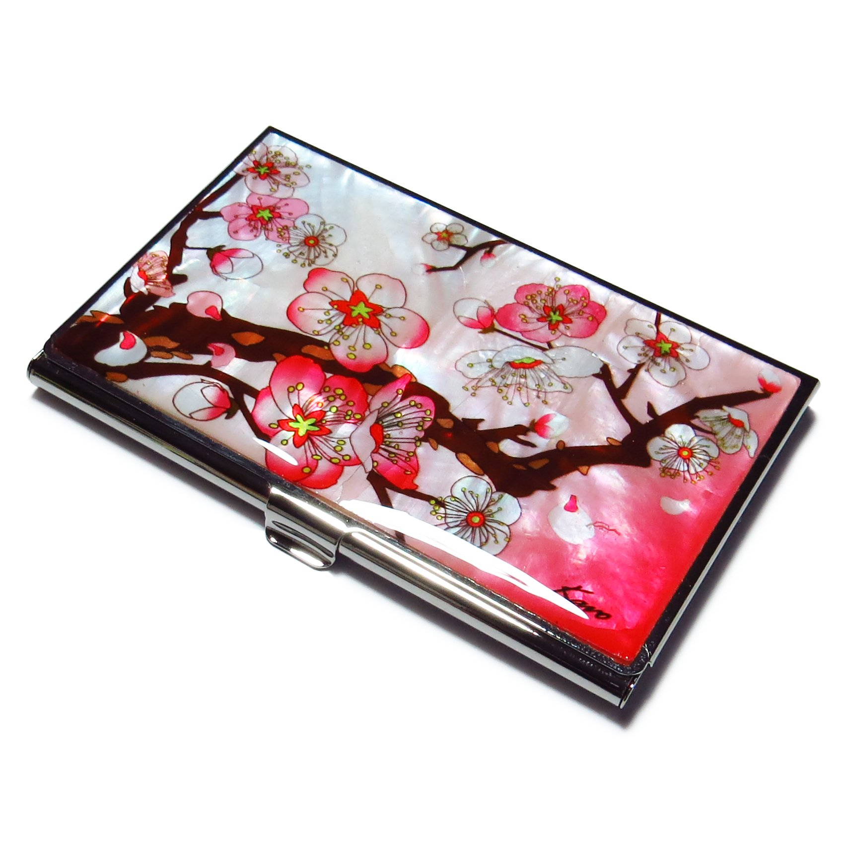 Business Credit Card Case Id Holder Metal Travel Wallet Mother of Pearl Apricot Tree Pink
