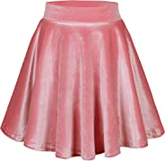 Urban CoCo Women's Vintage Velvet Stretchy Mini Flared Skater Skirt