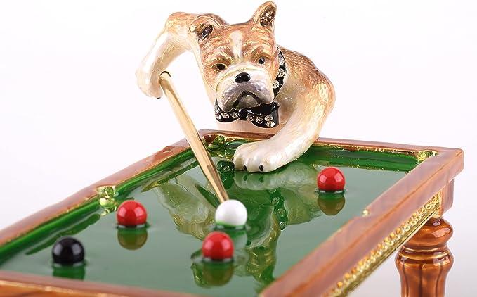 Perros jugando al billar Joyero caja de música estilo decorado con cristales de Swarovski única decoración del hogar: Amazon.es: Hogar