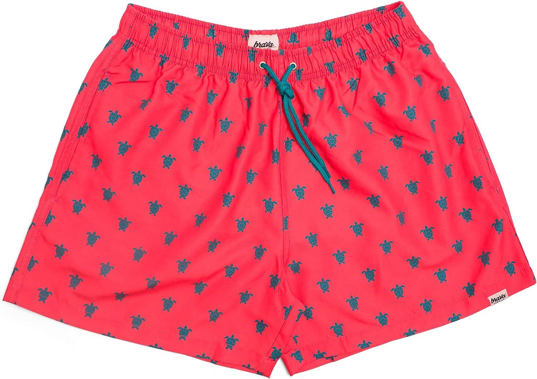 Brava Fabrics | Bañador Estampado Elegante de Hombre | Traje de Baño Surf, Playa o Piscina | Bañador Verano de Diseño Casual Moderno | Rojo | Modelo Turtle with Love