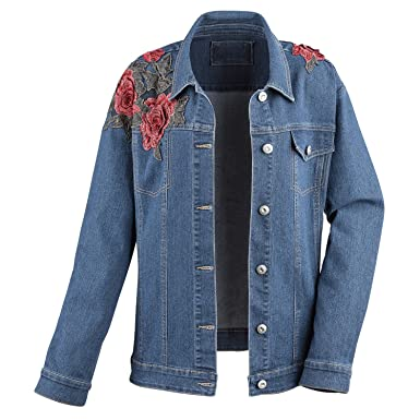 19f08e866a3d1 Women's Denim Jacket -Loose Fit Floral Roses Embroidery & Crystal Accent  Buttons - Small