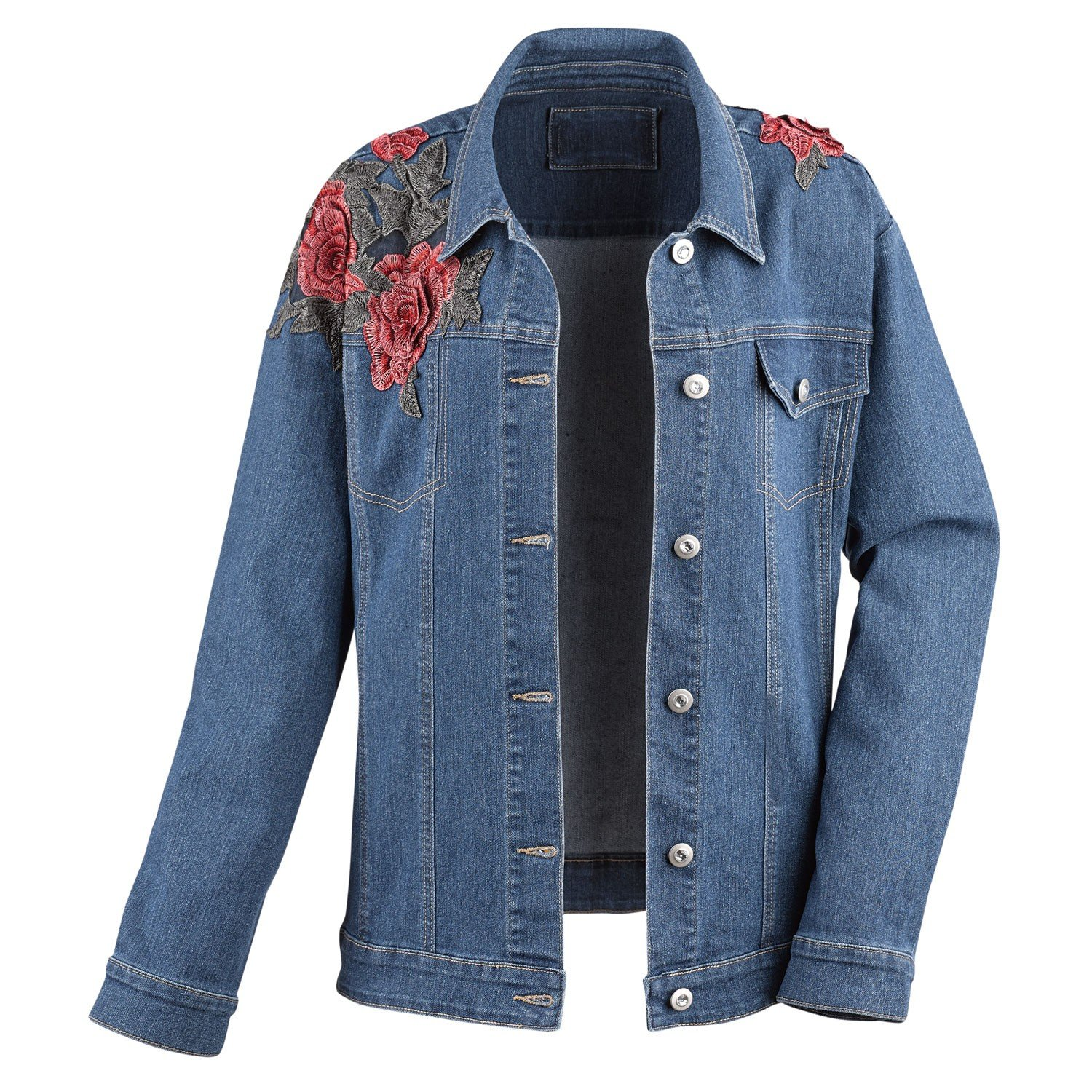 CATALOG CLASSICS Women's Denim Jacket -Loose Fit Floral Roses Embroidery & Crystal Accent Buttons - 1X