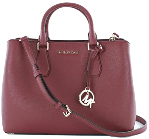 780a51cbed20 Michael Kors Camille Top Handle Messenger Bag Pebbled Leather Medium  Handbag (Mulberry Red) RRP