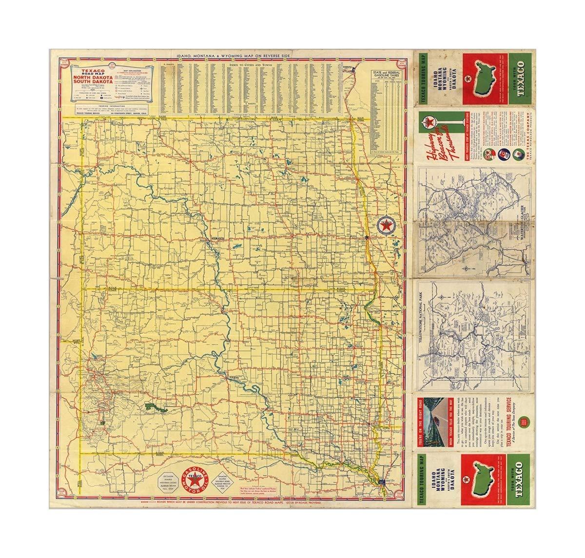 Amazon com: Map Road N  & S  Dakota 1937 Vintage Fine Art