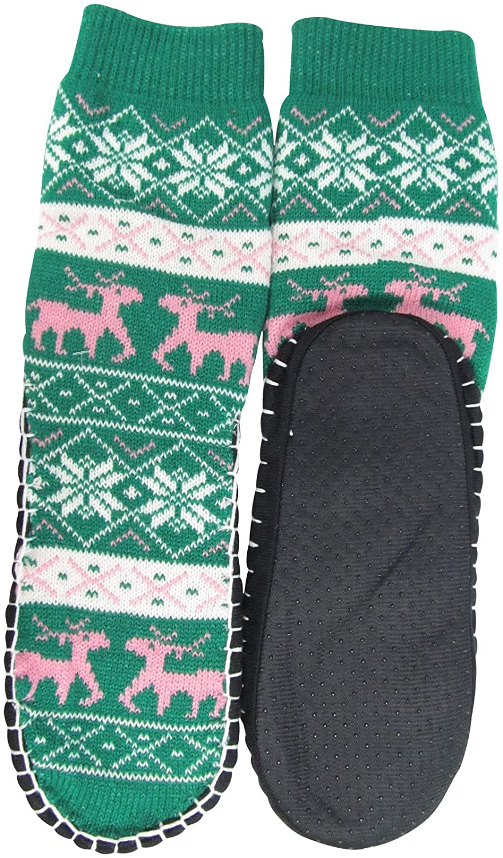 Womens Jacquard Knitted Slipper Sock-Bottom 23-24cm HS505