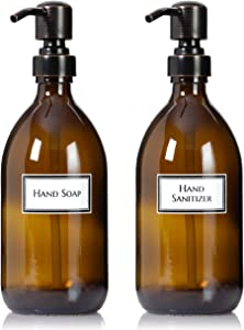 Artanis Home Refillable Amber Glass Hand Soap / Hand Sanitizer Dispenser 16 oz, 2-Pack – Ceramic Printed Apothecary Bottle with Oil Rubbed Bronze Pumps