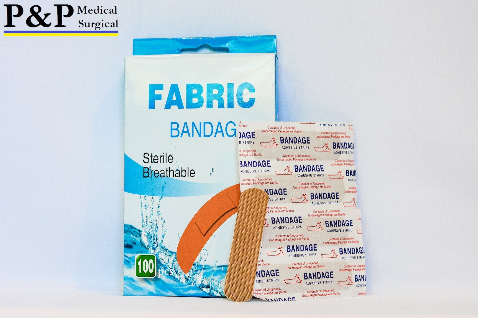 BAND AID STERILE FLEXIBLE SELF ADHESIVE BANDAGES_Skin color_1 Carton/100 Boxes/10000 Pieces_size 3/4x3 inches_Designed in USA by P&P Medical Surgical by P&P Medical Surgical