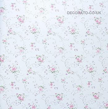 White Rose Fablon Shabby Chic STICKY DOS PLASTIQUE Floral AUTOADHÉSIF VINYLE UK