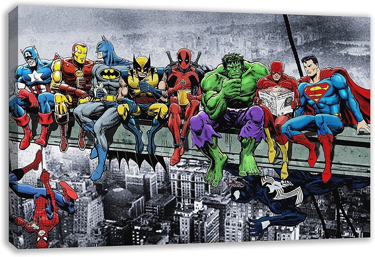 DC MARVEL SUPER HERO LUNCH ATOP SKYSCRAPER Canvas Framed Wall Art Various sizes
