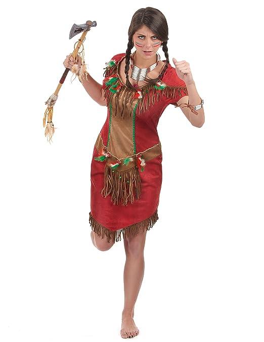Disfraz de india rojo mujer - M: Amazon.es: Juguetes y juegos