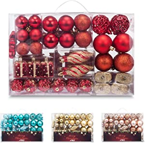 AMS 90ct Christmas Ball Assorted Pendant Shatterproof Ball Ornament Set Seasonal Decorations with Reusable Hand-Help Gift Boxes Ideal for Xmas, Holiday and Party (90ct, Red)