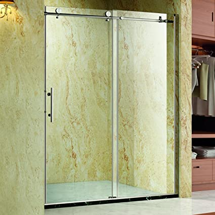 Homcom Frameless Glass Sliding Shower Door Polished Stainless 60