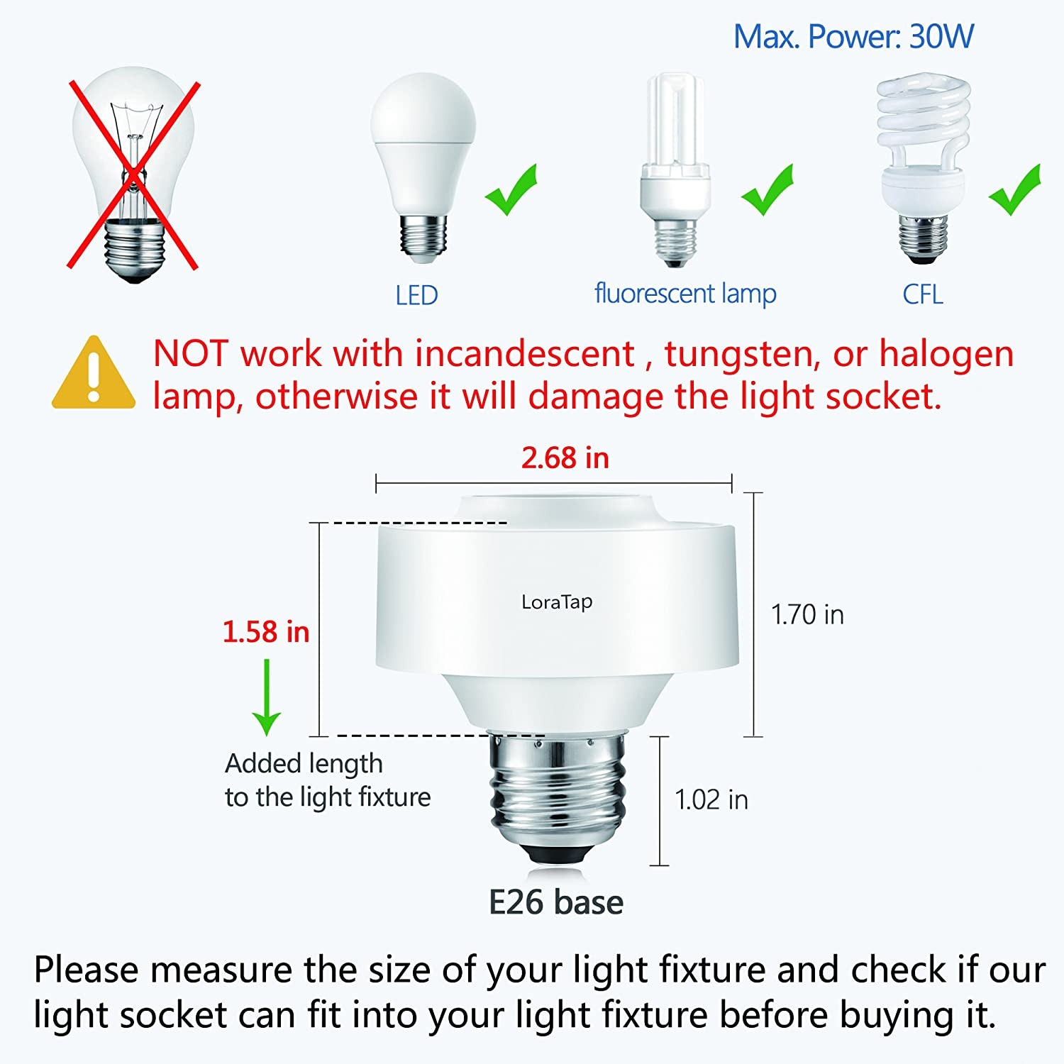 Loratap Wireless Remote Control E26 Light Bulb Socket Lamp Switch Incandescent Diagram Free Download Wiring Kit 656ft 915mhz Range Led Fixtures 30w Max
