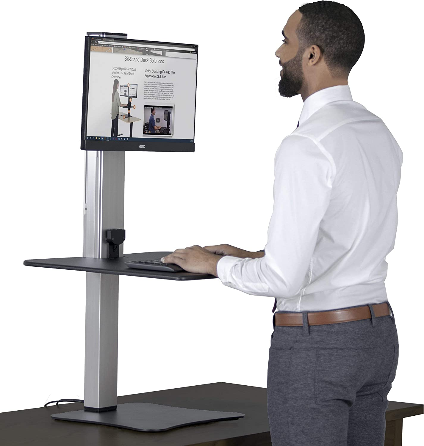 Victor DC400 High Rise Collection 1 Monitor Electric Sit Stand Desk Converter with Easy Tap Technology - Turn Your Desk into a Standing Desk with a Single Push of a Button