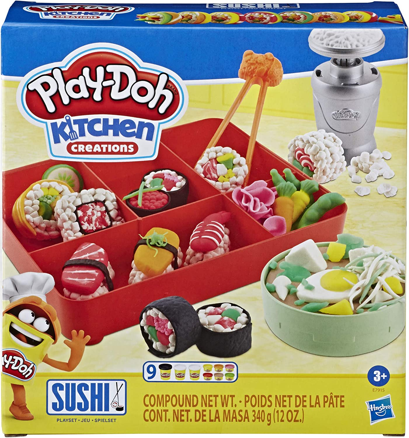 Play-Doh Kitchen Creations Sushi Play Food Set for Kids 3 Years and up with Bento Box and 9 Non-Toxic Play-Doh Cans