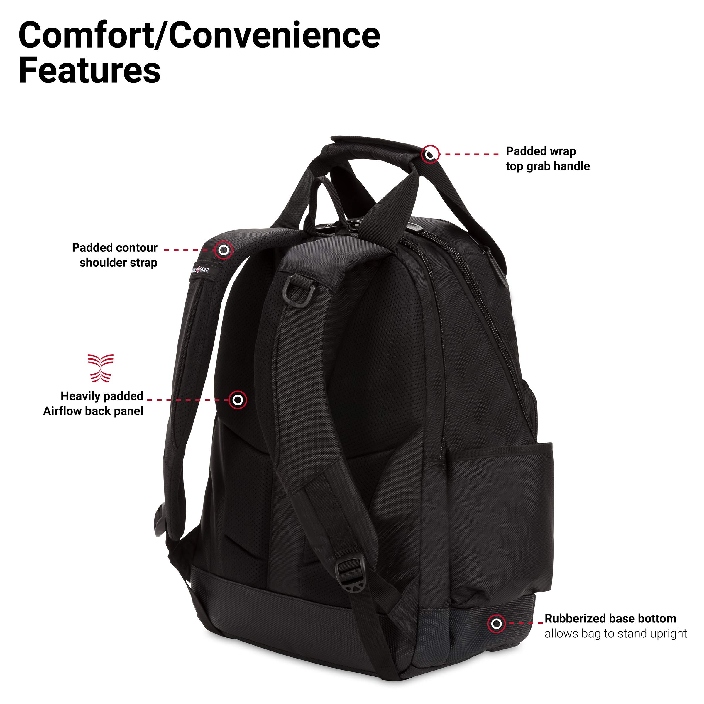 SWISSGEAR 2767 Large Durable Work Pack Tool Backpack With Padded Laptop Compartment | Tool Storage, Part Organization, Wet/Dry Pocket - Black by SwissGear (Image #2)