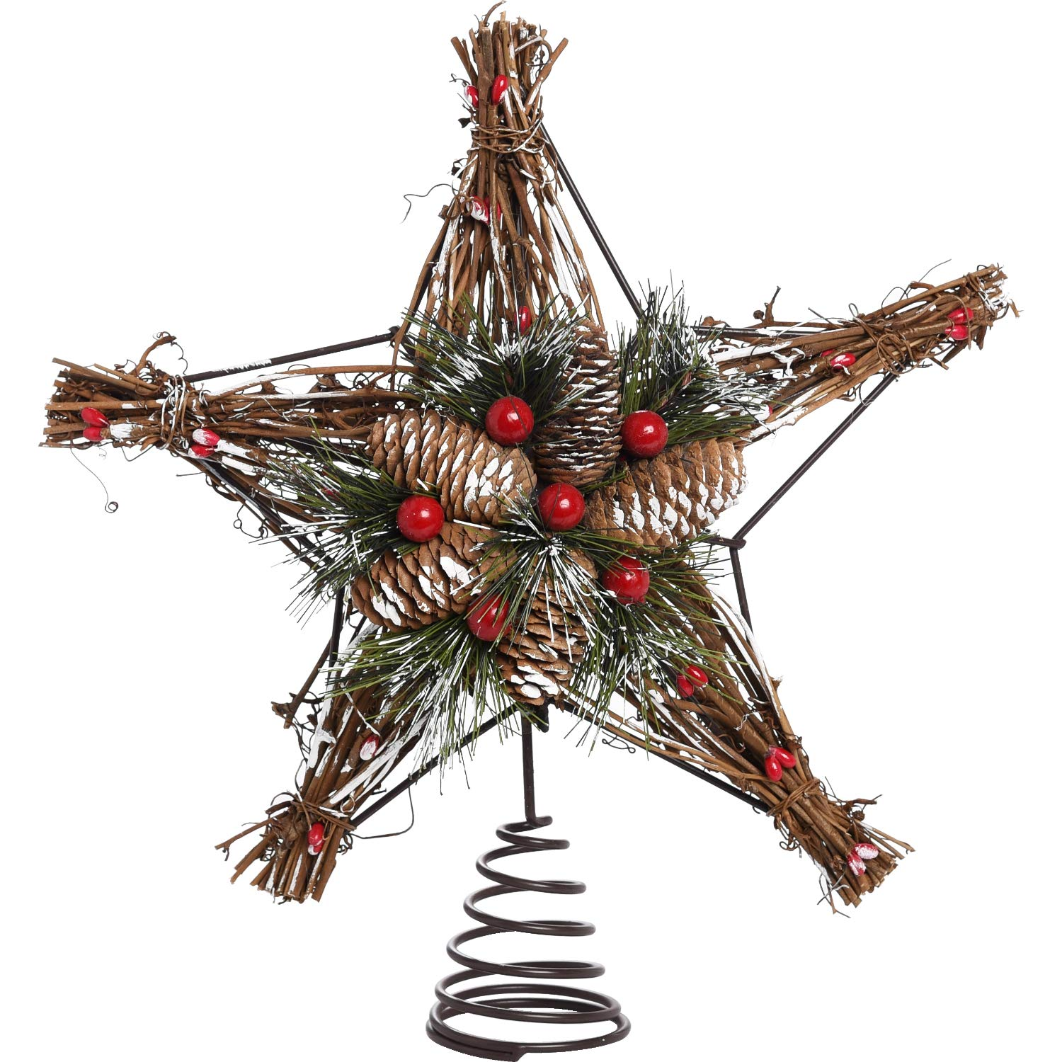 Rustic Twig and Pinecone Star Tree Top Decoration - Christmas Tree Topper Holiday Ornament