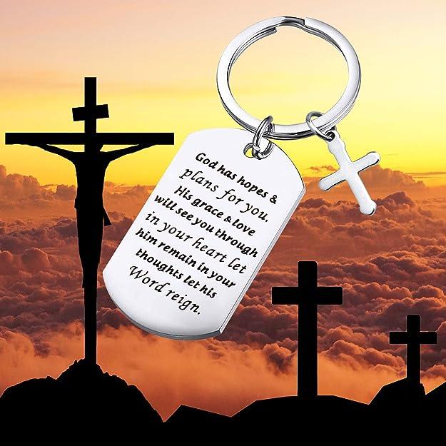 Amazon.com: BEKECH Christian Gifts - Llavero con colgante de ...