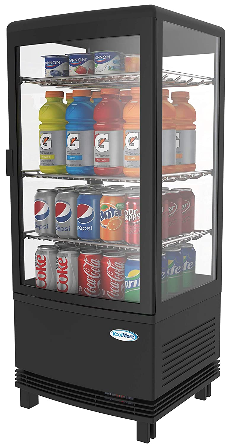 KoolMore Countertop Refrigerator Display Case Commercial Beverage Cooler with LED Lighting - 3 cu. ft Capacity