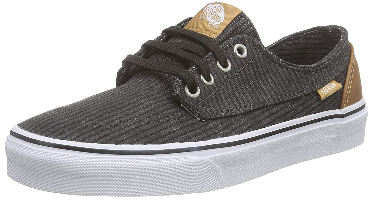 Vans Unisex-Erwachsene Brigata Low-Top  44.5 EU|Schwarz (Washed Herringbone/Jet Black)