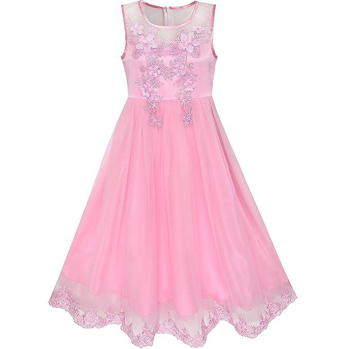 ab0b7f5c9610 Sunny Fashion Flower Girls Dress Lace Hem Wedding First Communion Age 6-14  Years: Amazon.co.uk: Clothing
