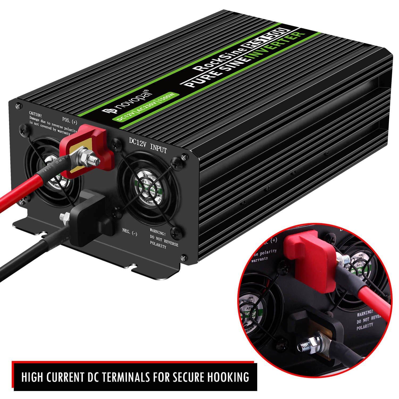 Inverter Konverter mit 2 EU Steckdose und USB-Port Spitzenleistung 3000 Watt inkl Auto Wechselrichter 12v auf 230v Umwandler 1500W KFZ Reiner Sinus Spannungswandler 5 Meter Fernsteuerung