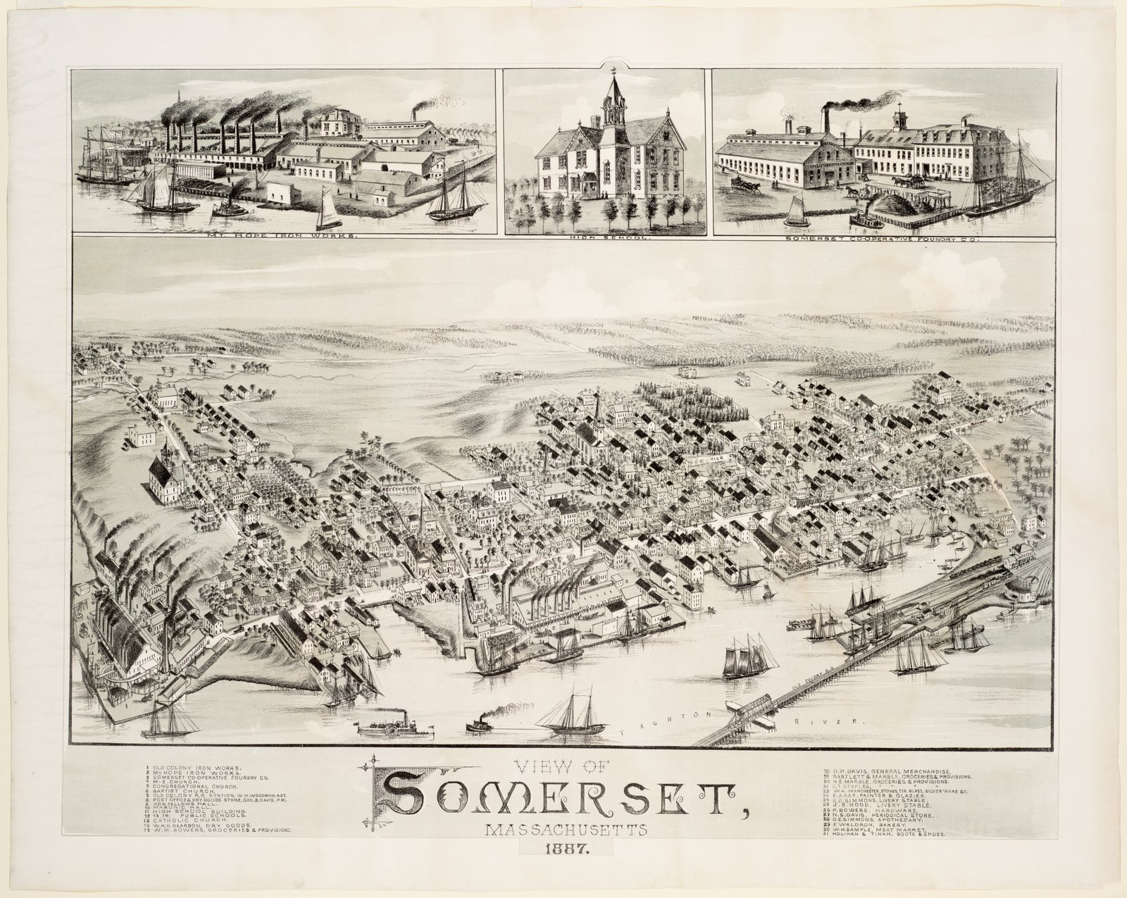 Historic Map | 1887 View of Somerset, Massachusetts | Antique Vintage Reproduction
