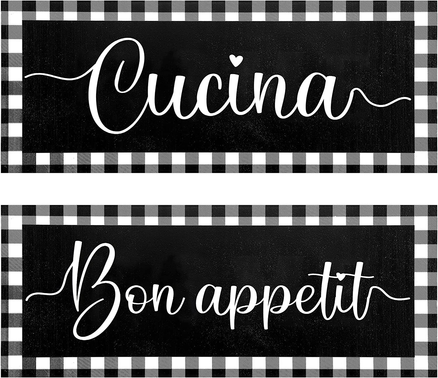 Jetec 2 Pieces Rustic Kitchen Wall Sign Buffalo Grid Farmhouse Wall Bon Appetit Cucina Art Kitchen Sign Home Decorations for Kitchen Dining Living Room Bar Cafe Decoration