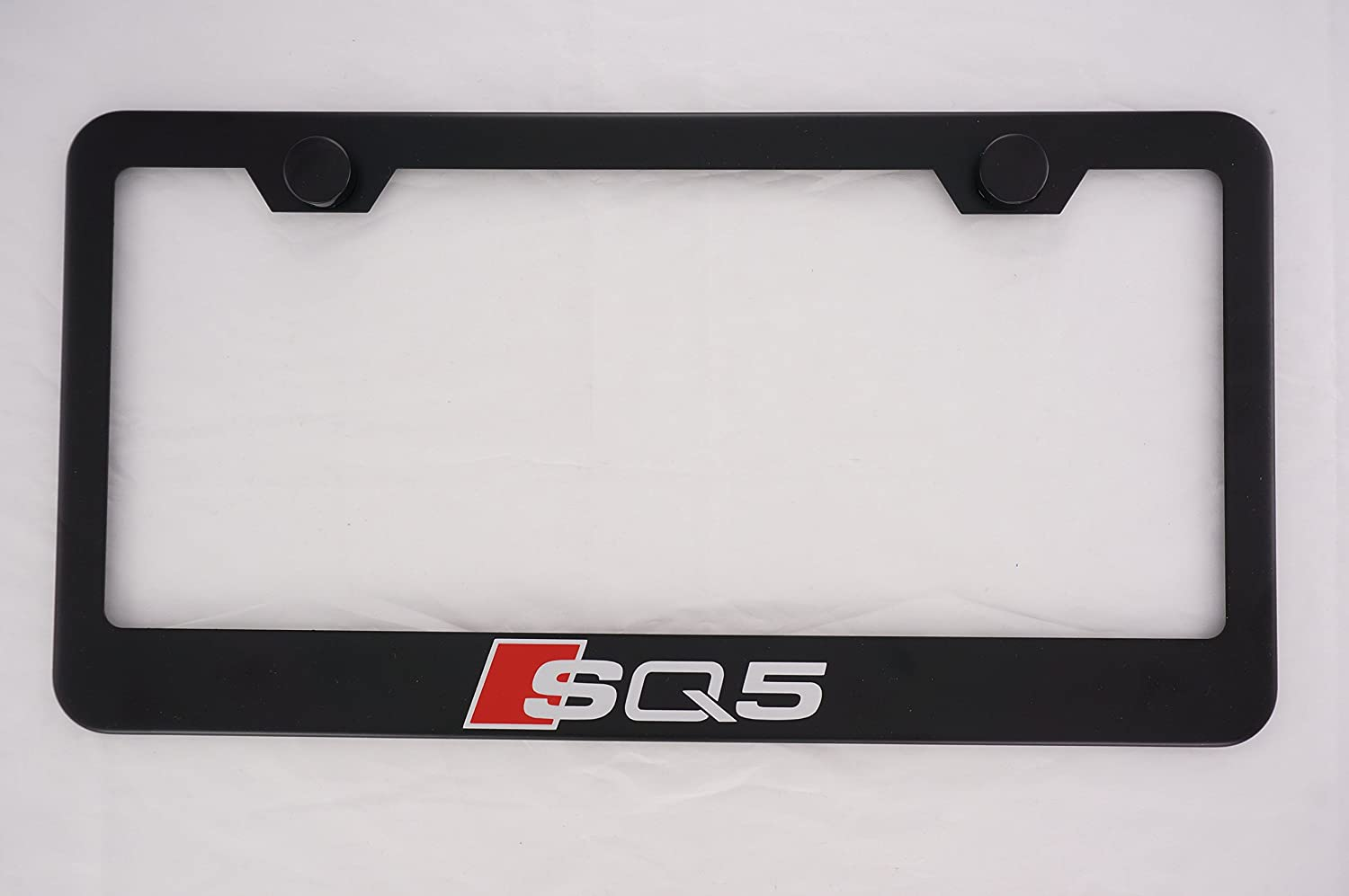 Audi SQ5 Black License Plate Frame with Caps