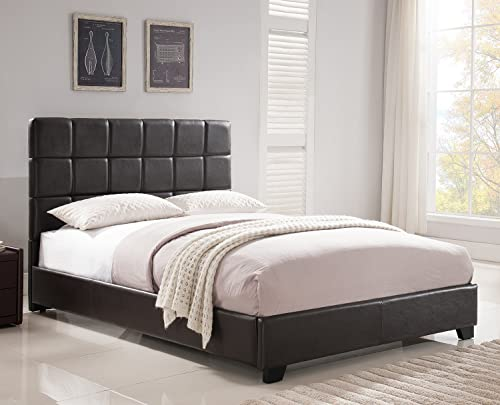 Mantua Kenville Brown Upholstered Platform Bed Easy to Assemble Faux Leather Platform Bed for King Beds, Dress Up your Bedroom, No Box Spring Needed Model