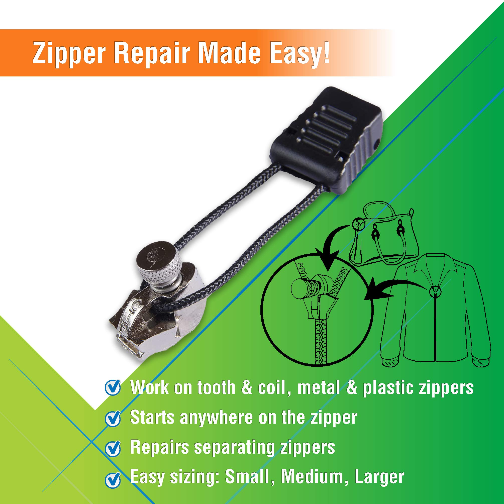 Jeep Slider ~ Black ZipperStop Wholesale Authorized Distributor YKK/® Zipper Rescue Jeep Slider ~ 10 Coil Long Pull with 2 Heads 2 Sliders // Pack