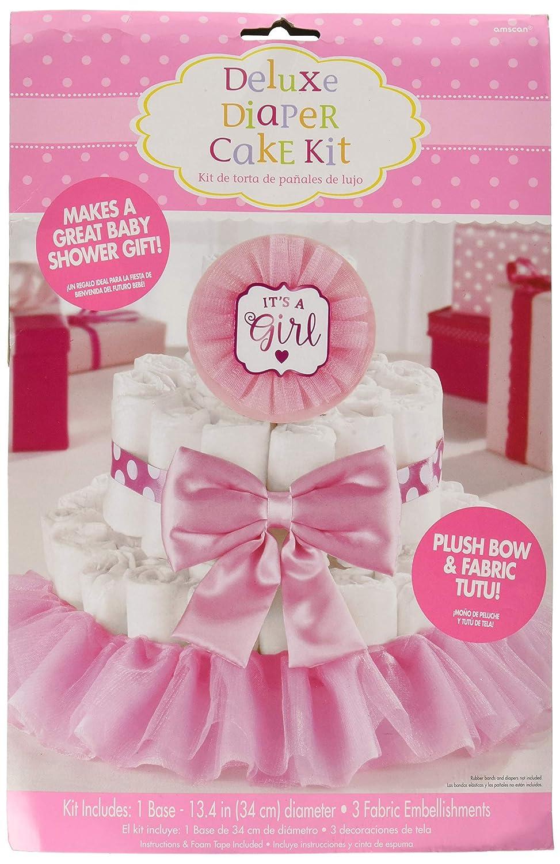 13 1//4 Dia 4ct Amscan 380083 Baby Shower Deluxe Diaper Cake Dec Girl Pink Kit