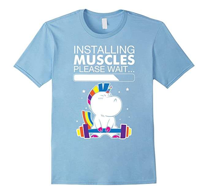 e9d91d44 Image Unavailable. Image not available for. Colour: Men's Unicorn  Installing Muscles Please Wait Funny Fitness T-shirt ...
