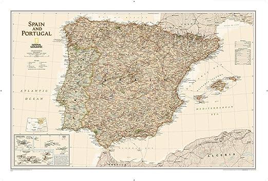 National Geographic: Mapa de pared ejecutivo de España y Portugal – Estilo antiguo – 33 x 22 pulgadas – Impresión de calidad artística: Amazon.es: Amazon.es