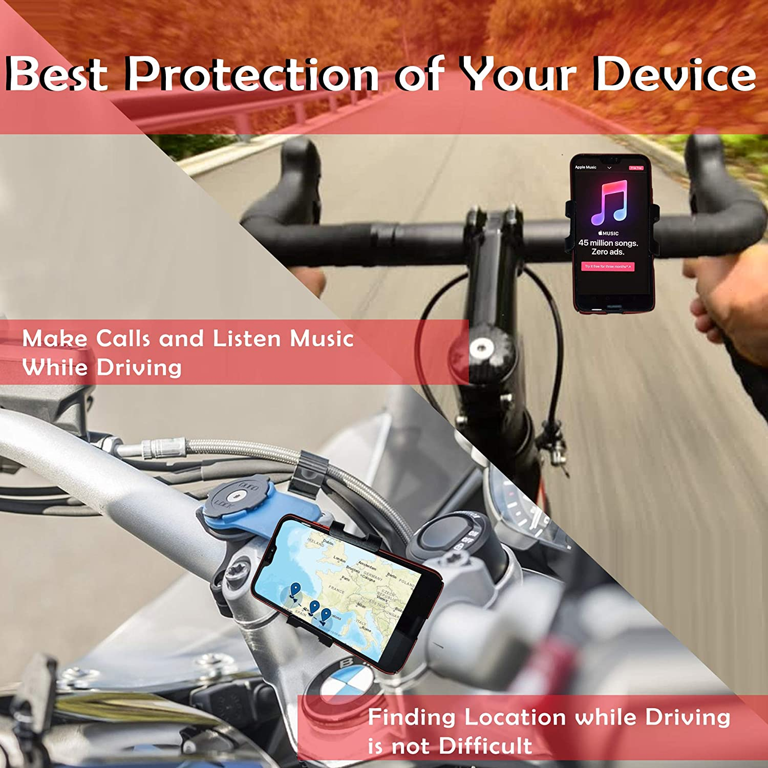 XR XS LG VEGAMONT Bike Phone Mount Any Phone Up to 6.5 to 3.5 Wide-360 Rotation Adjustable for iPhone X S9 S8 S7 Samsung Galaxy 8//8Plus 6S//6S Plus 7//7Plus