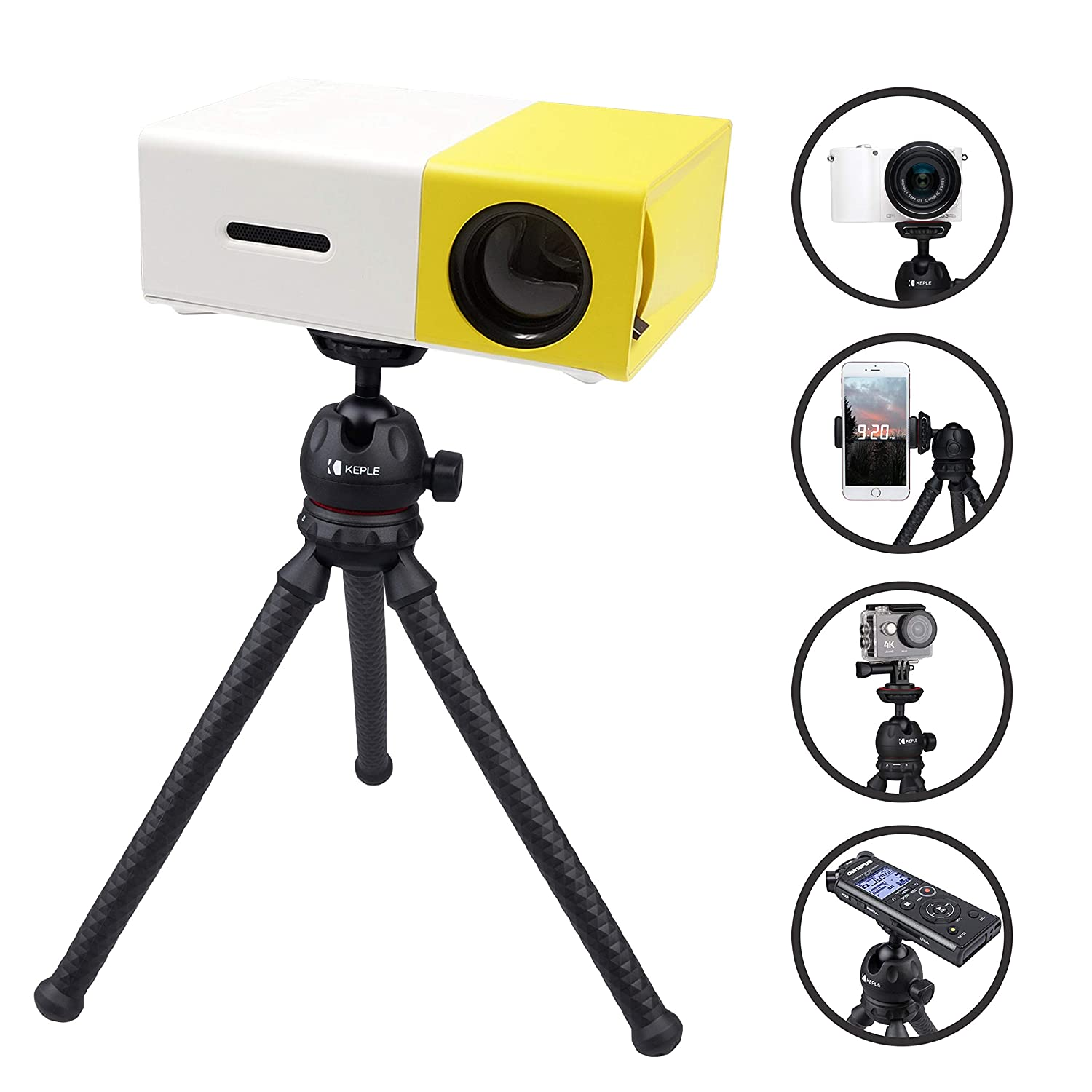 Trípode Mini Flexible Viaje Compatible con Mini Projector ELEPHAS ...
