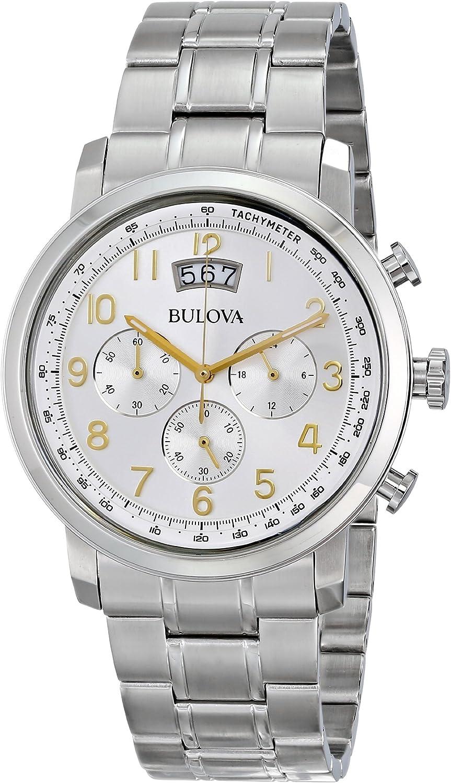 Bulova Mens 96B201XG Quartz Chronograph Gold-Tone Numerals Silver-Tone 42mm Watch Renewed