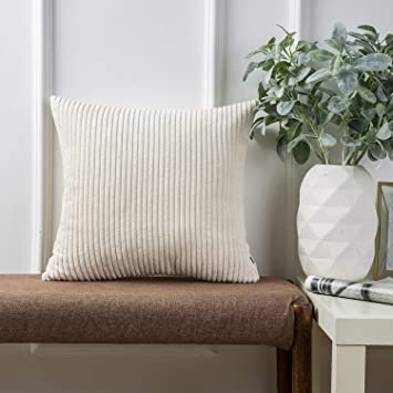 Ashler Corduroy Soft Velvet Striped Solid Square Throw Pillow Covers Cushion Cases 18 x 18 Inch Off-White