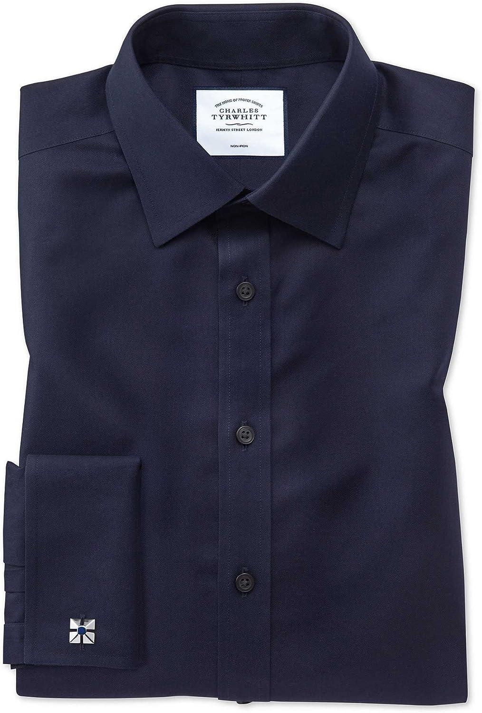 Charles Tyrwhitt Camisa Azul Marino de Sarga Slim fit con Cuello Italiano
