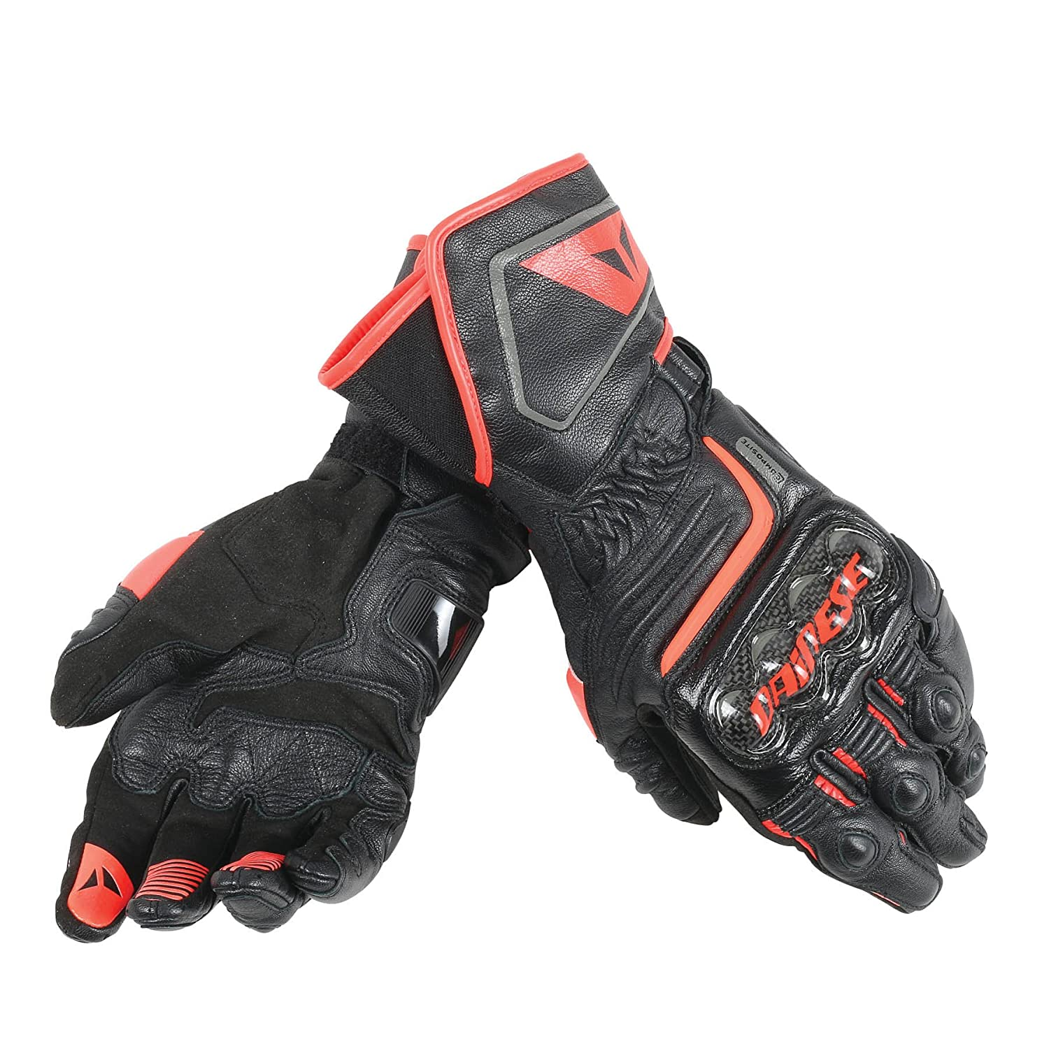 Dainese Carbon D1 Long Mens Leather Motorcycle Gloves Black/Fluo Red LG