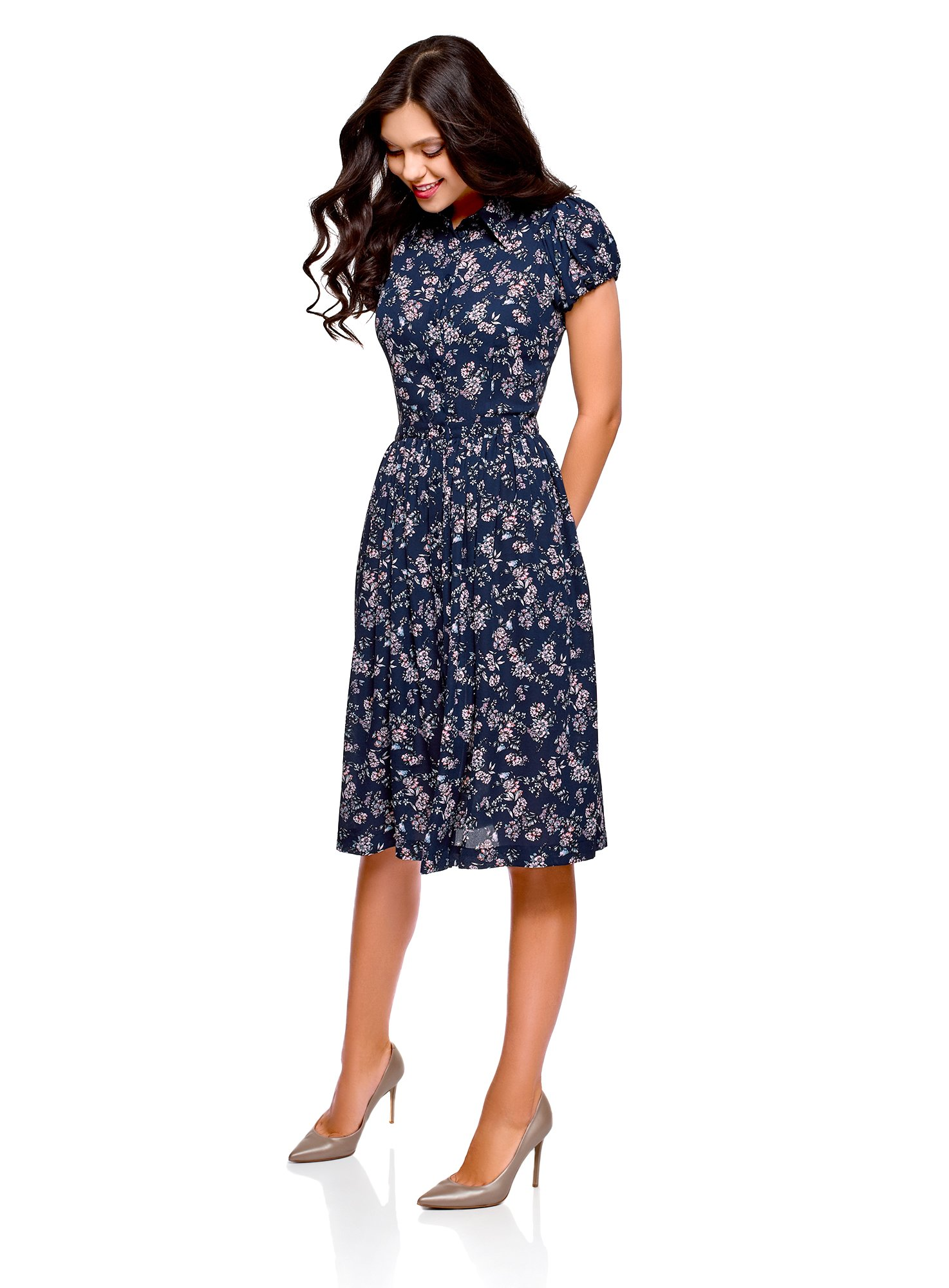 oodji Ultra Women's Midi Dress with Flared Skirt, Blue, US 4